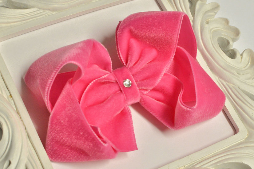 Large Hot Pink Velvet Boutique Hair Bow
