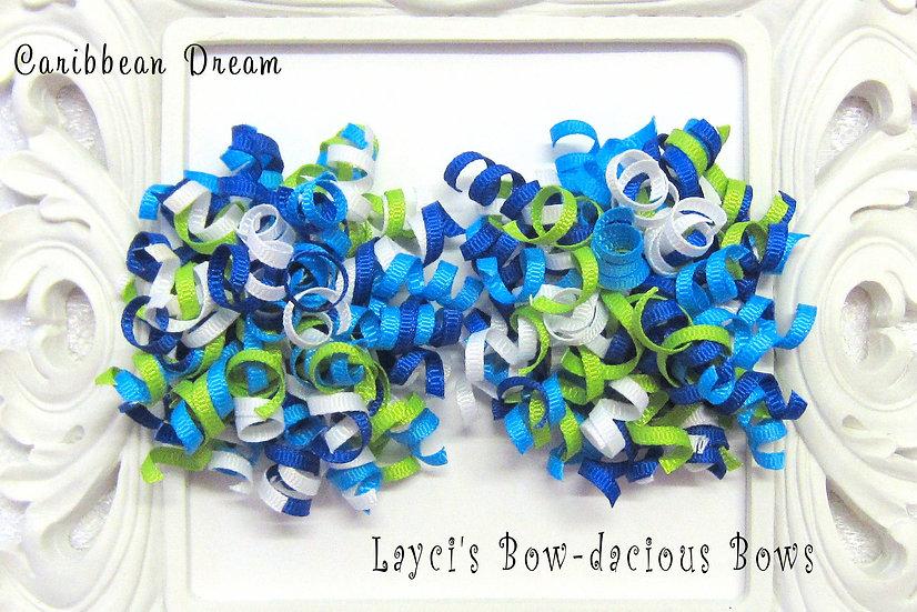 Caribbean Dream Petite Korker Hair Bows - island blue, apple, white, royal