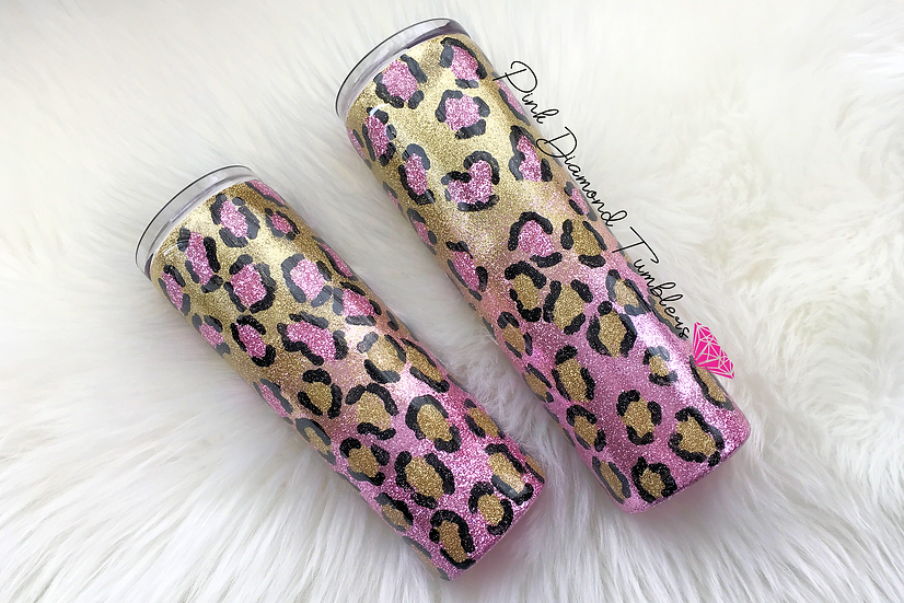 Pink and Gold Ombre Leopard Glitter Tumbler -Luxury Glitter Tumbler