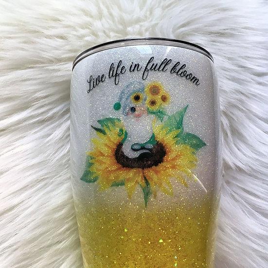Live Life in Full Bloom Glitter Tumbler