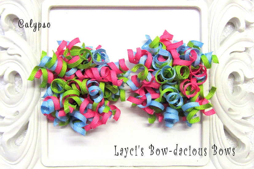 Calypso Petite Korker Hair Bows - blue topaz, apple, hot pink