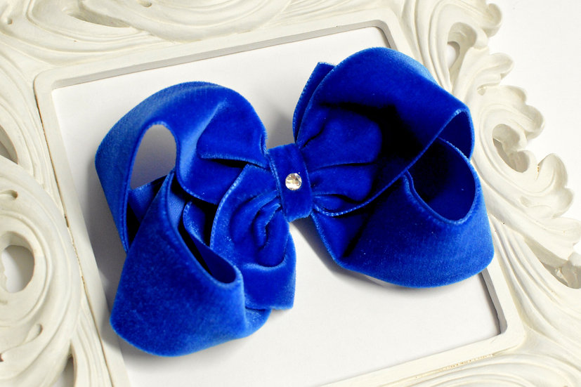 Large Royal Blue Velvet Boutique Hair Bow