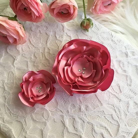 Carnation Pink Satin Flower Hair Clip