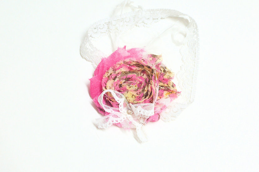 Pink Floral Shabby Flower Headband - Ready to Ship - rts1
