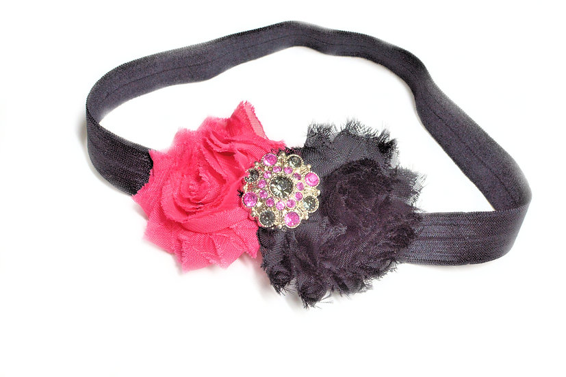 Hot pink and Black Flower Headband - Ready to Ship - rts1