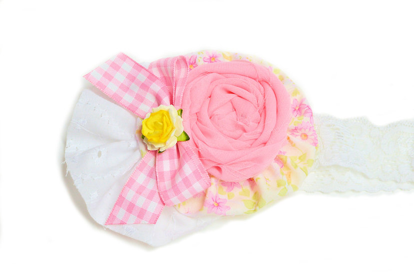 Pink and White Gingham Flower Headband - Ready to Ship - rts1