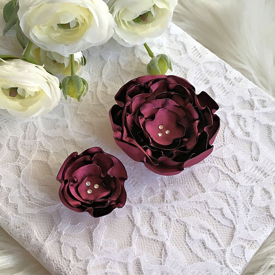 Cranberry Satin Flower Hair Clip