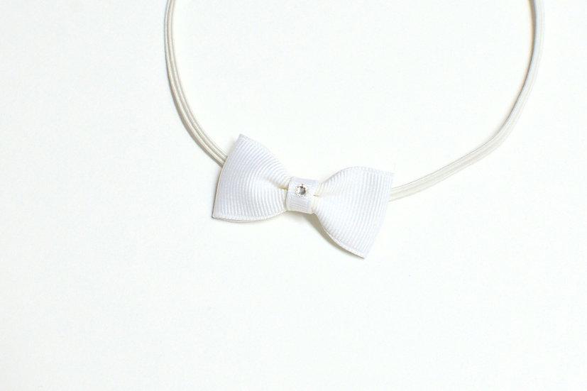 White Bow Tie Skinny Headband - Ready to Ship - rts1