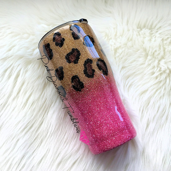 Gold and Hot Pink Leopard Print Glitter Tumbler