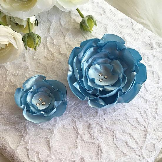 Blue Satin Flower Hair Clip