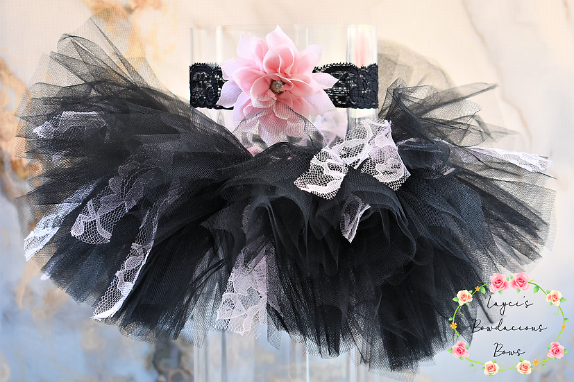 Ready to Ship Black Newborn Tutu Set -0008