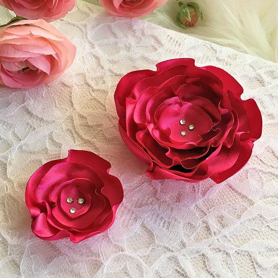 Cherry Satin Flower Hair Clip