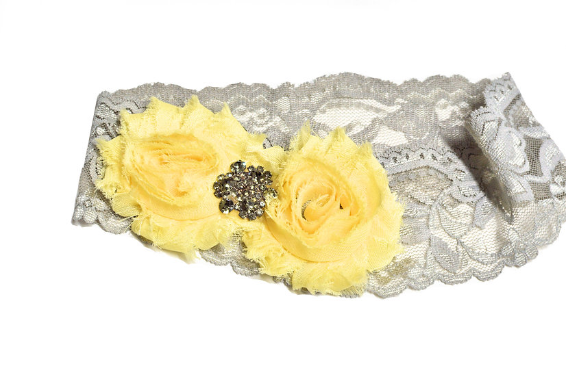 Yellow and Grey Flower Headband - Ready to Ship - rts1