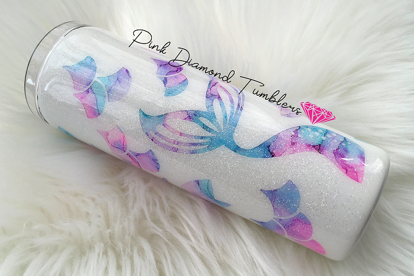Mermaid Tails Watercolor Peekaboo Glitter Tumbler -Luxury Glitter Tumbler