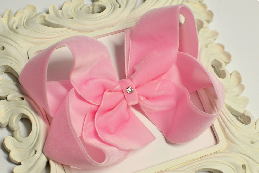 Extra Large Pink Velvet Boutique Hair Bow