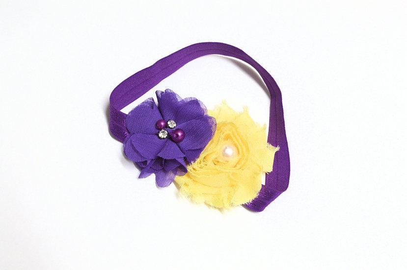 Purple and Yellow flower Headband - Ready to Ship - rts1