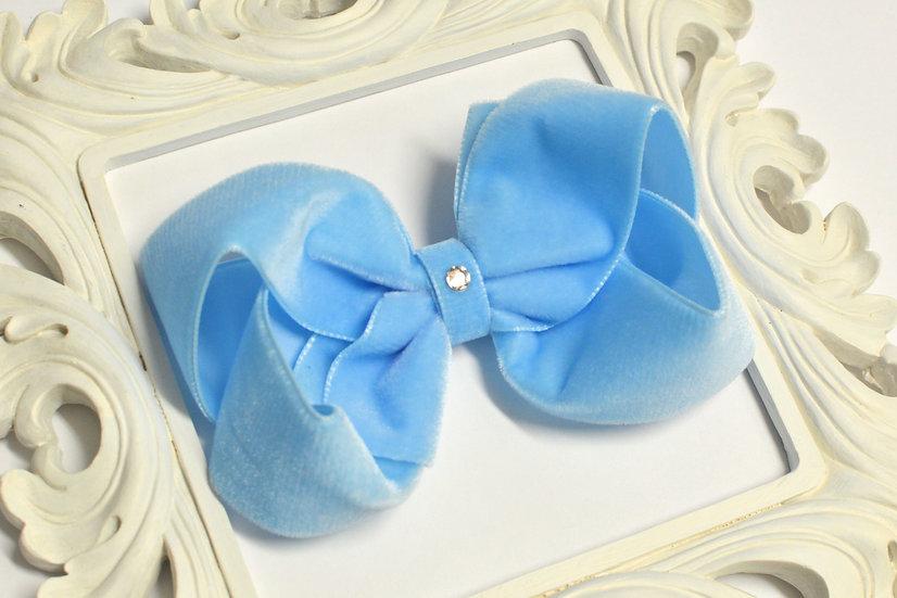 Large Blue Velvet Boutique Hair Bow