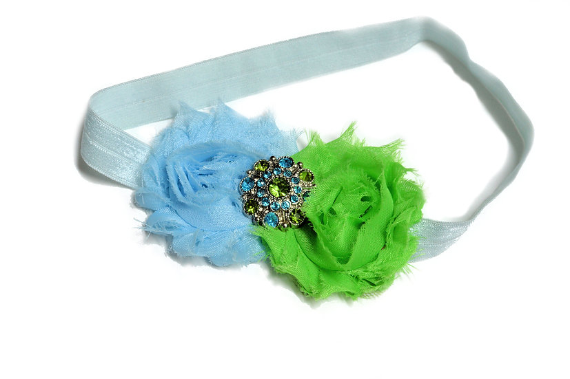 Blue and Green Flower Headband - Ready to Ship - rts1