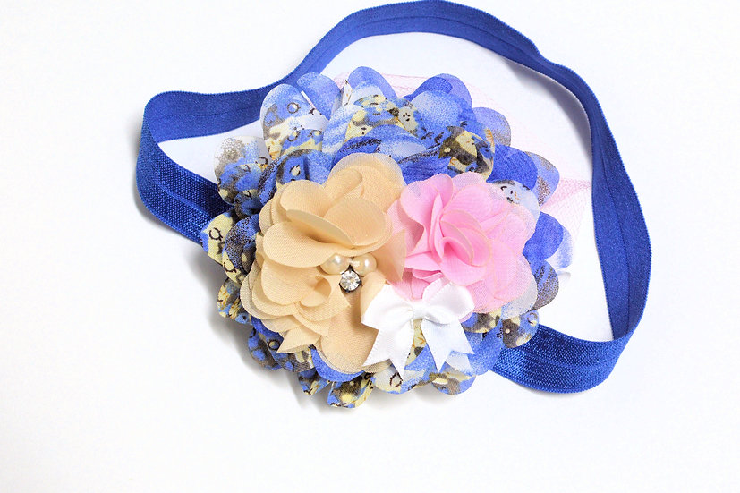Blue Floral Mix Headband - Ready to Ship - rts1