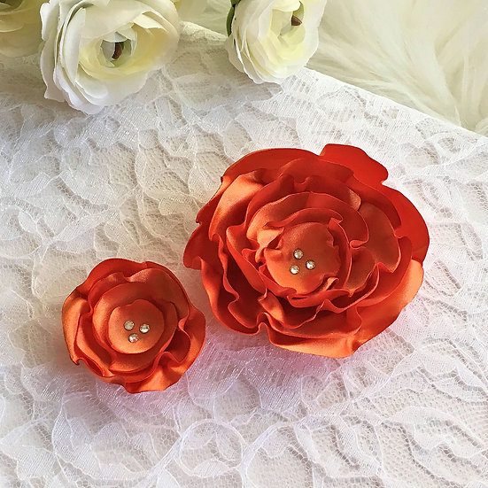Pumpkin Orange Satin Flower Hair Clip