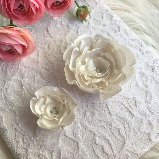 Ivory Satin Flower Hair Clip
