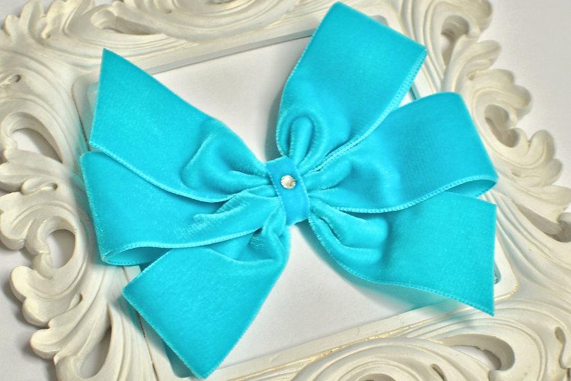 Large Orient Velvet Pinwheel Hair Bow