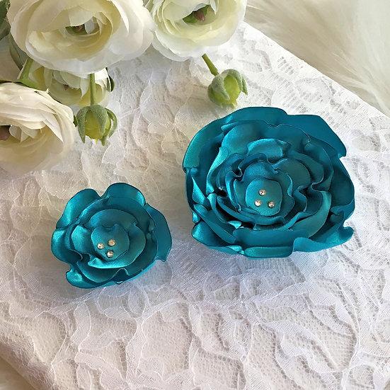 Turquoise Satin Flower Hair Clip