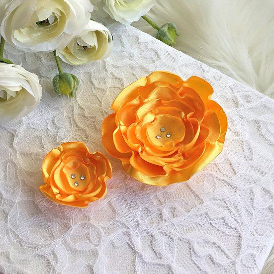 Gold Satin Flower Hair Clip
