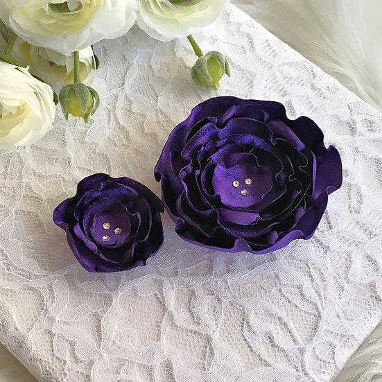 Purple Satin Flower Hair Clip