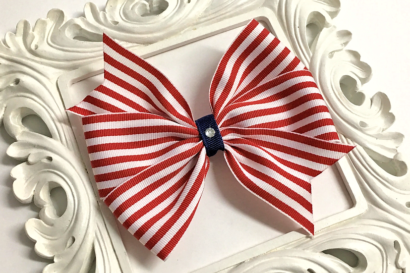 Red and White Striped Pinwheel Bow - large, extra large