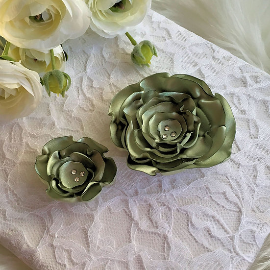 Celery Green Satin Flower Hair Clip