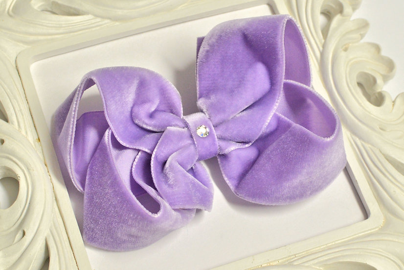 Large Lavender Velvet Boutique Hair Bow
