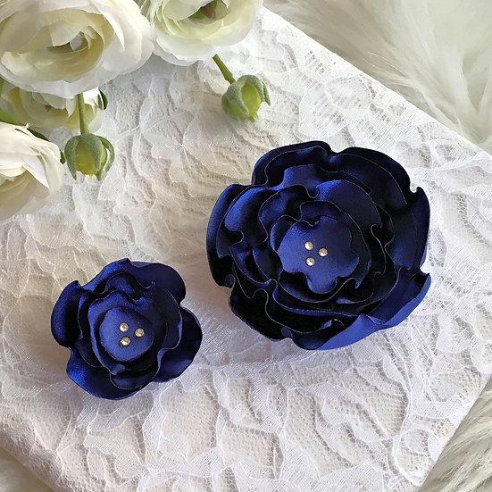 Sapphire Blue Satin Flower Hair Clip