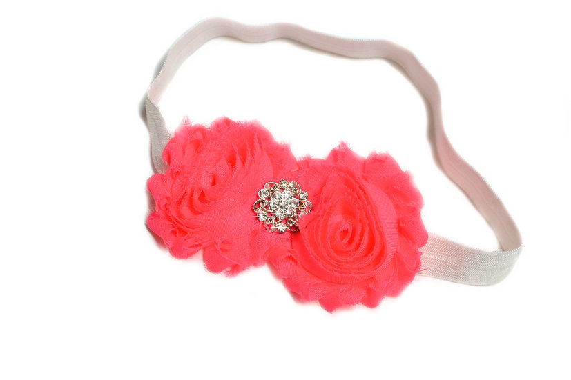 Neon Pink Double Flower Headband - Ready to Ship - rts1