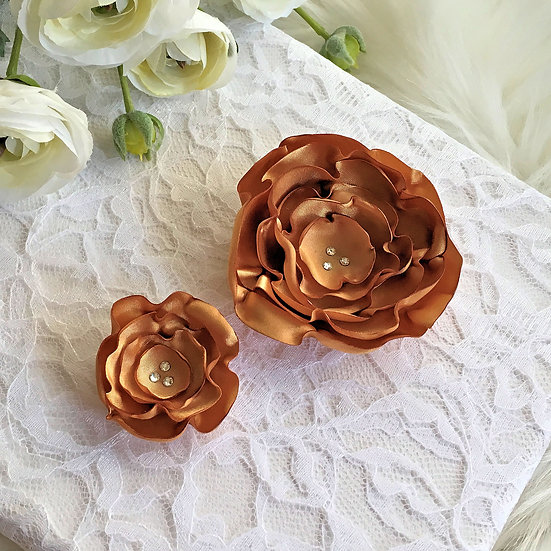 Antique Gold Satin Flower Hair Clip