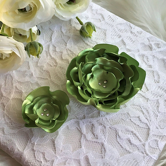 Lime Green Satin Flower Hair Clip