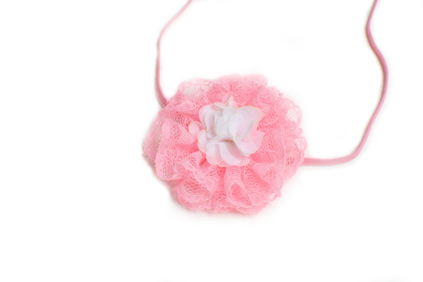 Small Pink and White Flower on Pink Skinny Headband - Ready to Ship - rts1