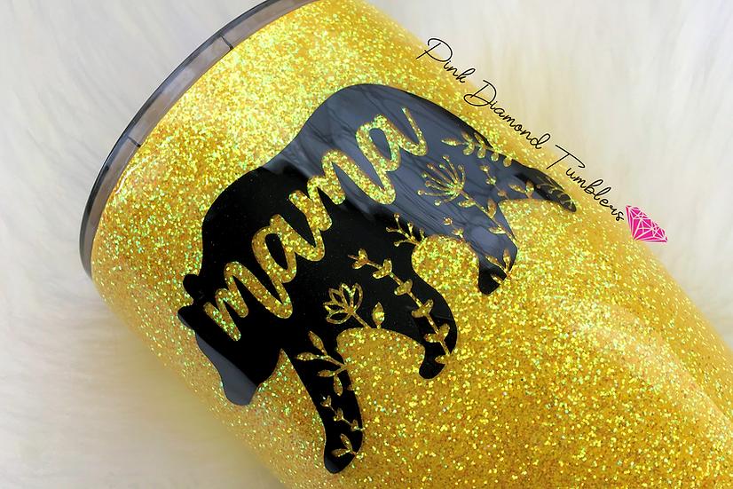 Mama Bear Yellow Glitter Tumbler -Luxury Glitter Tumble
