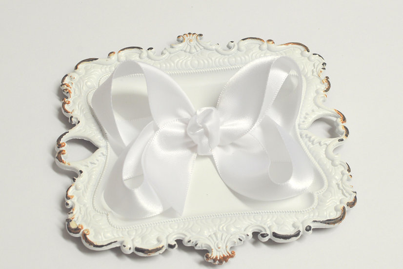 Large White Satin Boutique Hair Bow