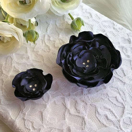 Light Navy Satin Flower Hair Clip - Limited Edition