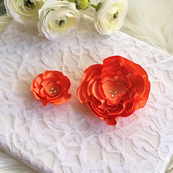 Orange Satin Flower Hair Clip