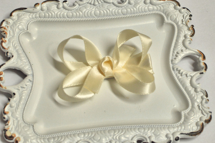 Small Ivory Satin Boutique Hair Bow