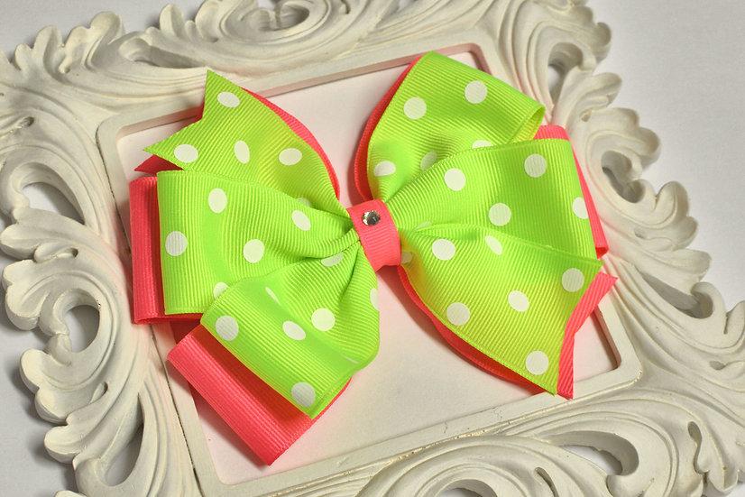 Large Layered Pinwheel Polka Dot Hair Bow