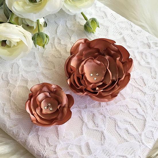 Cafe Creme Satin Flower Hair Clip
