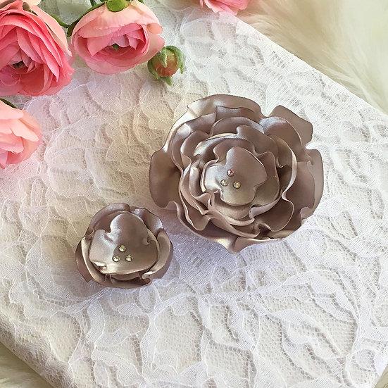 Silver Satin Flower Hair Clip
