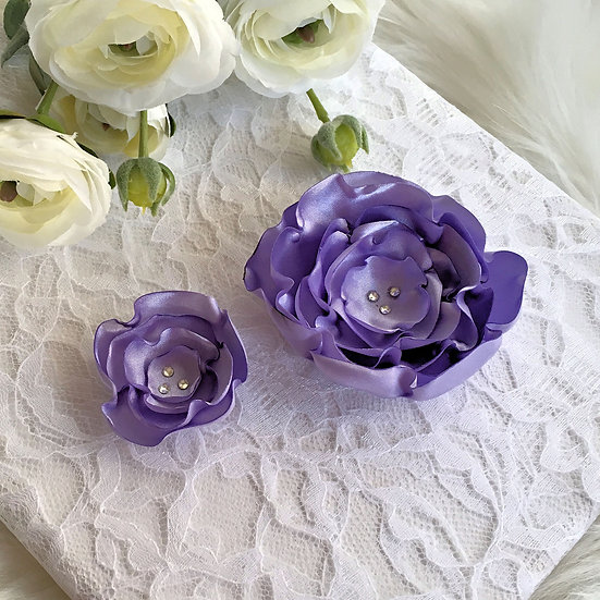 Lavender Satin Flower Hair Clip