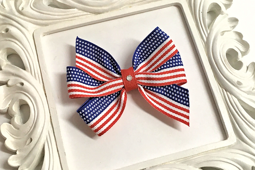 Medium Flag Print Pinwheel Bow