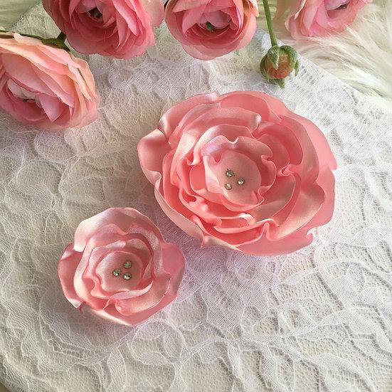 Pink Satin Flower Hair Clip