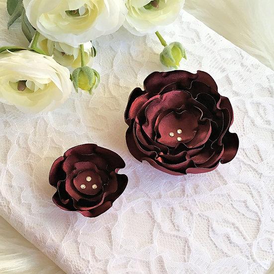 Wine Satin Flower Hair Clip