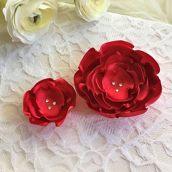 Red Satin Flower Hair Clip